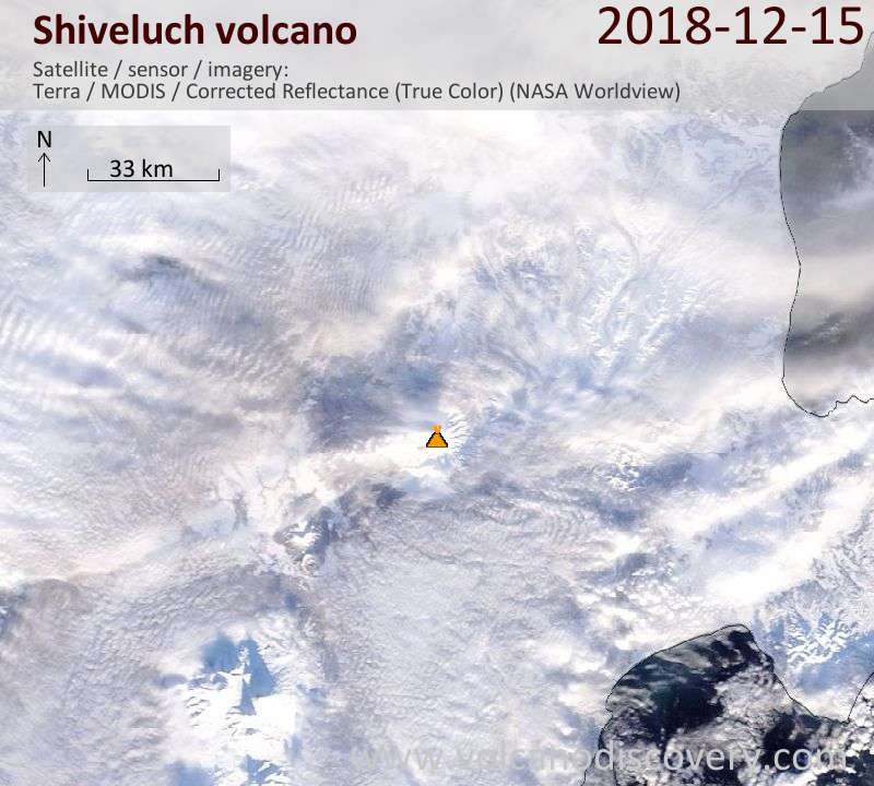 Satellite image of Shiveluch volcano on 15 Dec 2018