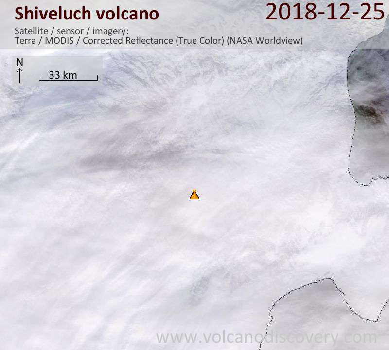Satellite image of Shiveluch volcano on 25 Dec 2018