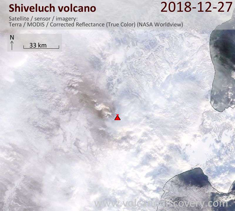 Satellite image of Shiveluch volcano on 27 Dec 2018