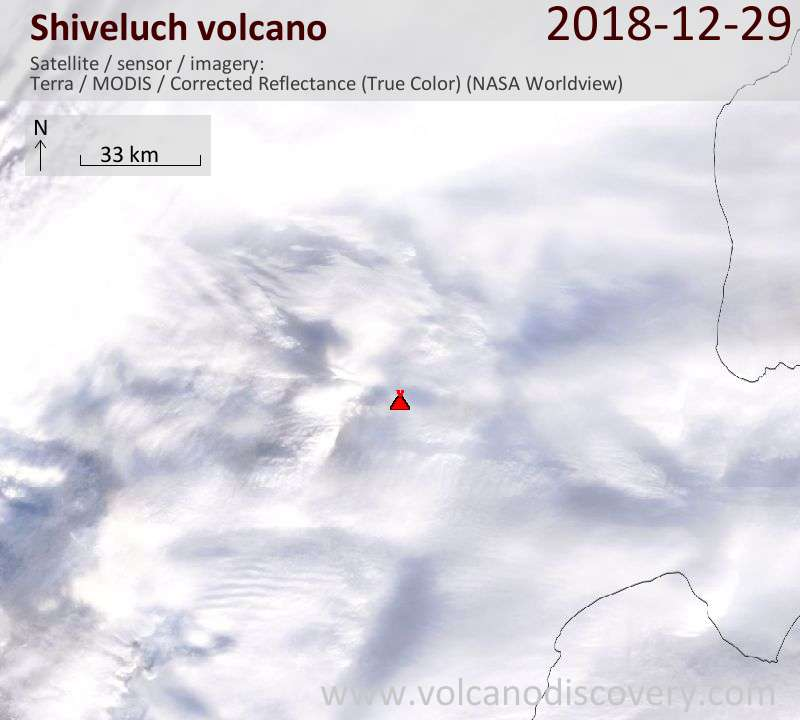 Satellite image of Shiveluch volcano on 29 Dec 2018