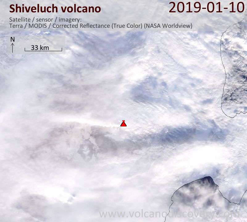 Satellite image of Shiveluch volcano on 10 Jan 2019