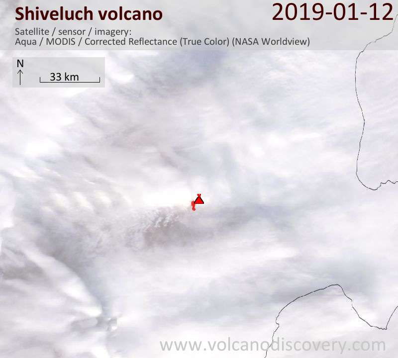 Satellite image of Shiveluch volcano on 13 Jan 2019