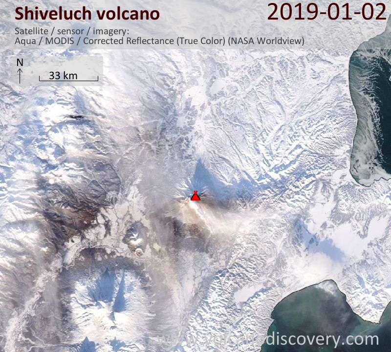 Satellite image of Shiveluch volcano on  2 Jan 2019