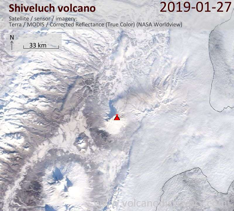 Satellite image of the Shiveluch volcano on January 27, 2019