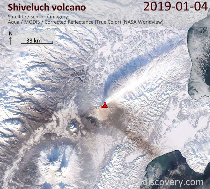 Satellite image of Shiveluch volcano on  5 Jan 2019