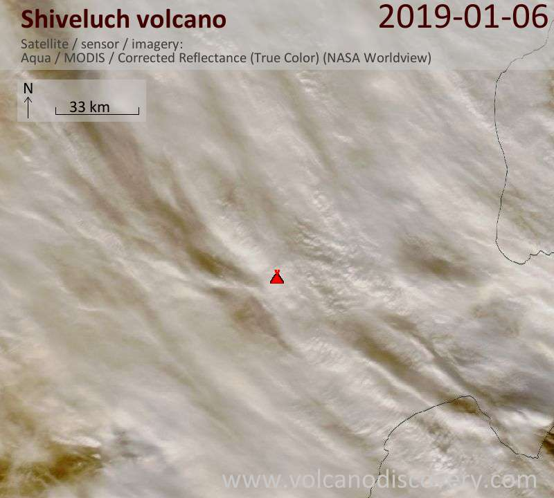 Satellite image of Shiveluch volcano on  6 Jan 2019