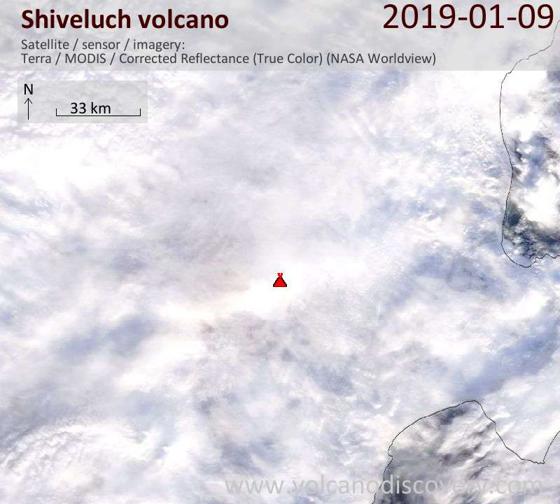 Satellite image of Shiveluch volcano on  9 Jan 2019