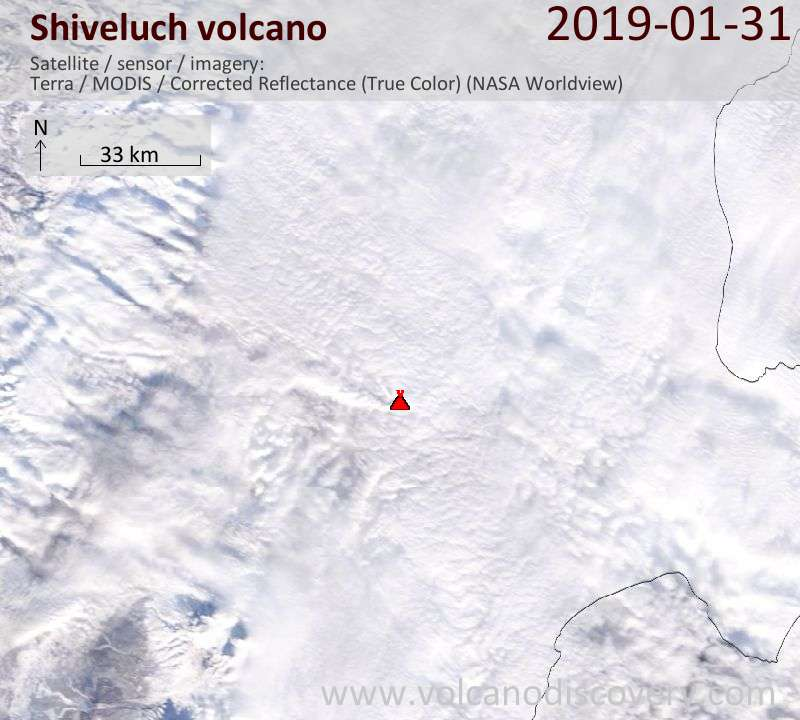 Satellite image of Shiveluch volcano on  1 Feb 2019