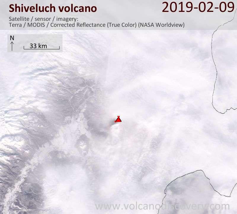 Спутниковое изображение вулкана Shiveluch 10 Feb 2019