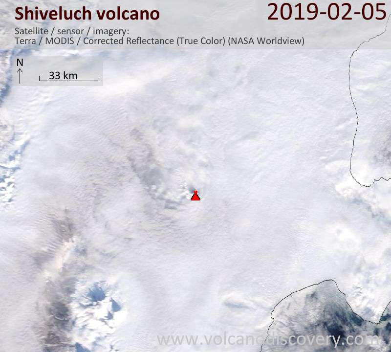 Satellite image of Shiveluch volcano on  5 Feb 2019