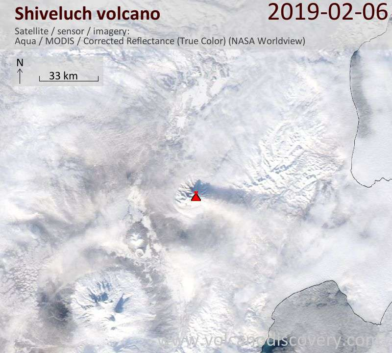 Satellite image of Shiveluch volcano on  7 Feb 2019