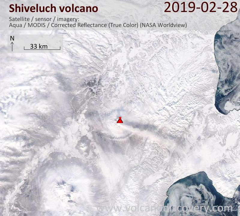 Satellite image of Shiveluch volcano on  1 Mar 2019