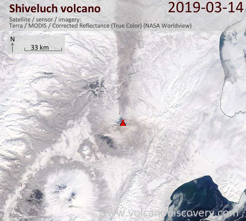 Satellite image of Shiveluch volcano on 14 Mar 2019