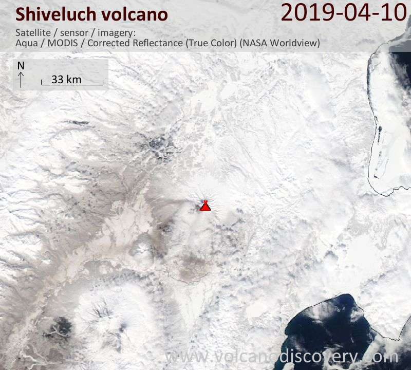 Satellite image of Shiveluch volcano on 10 Apr 2019