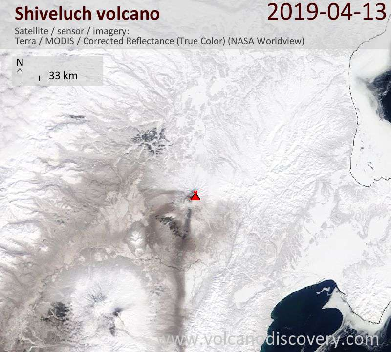 Satellite image of Shiveluch volcano on 13 Apr 2019