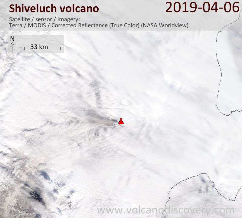 Satellite image of Shiveluch volcano on  6 Apr 2019