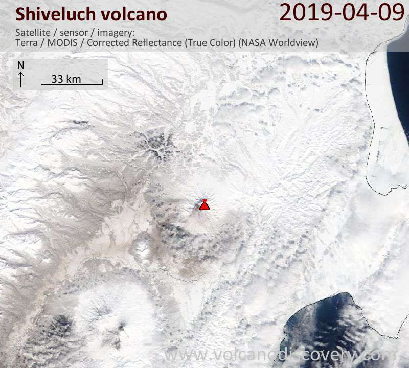 Satellite image of Shiveluch volcano on  9 Apr 2019