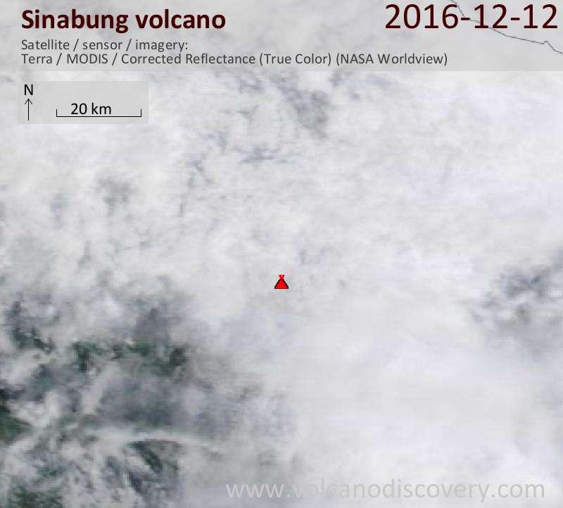 Satellite image of Sinabung volcano on 12 Dec 2016