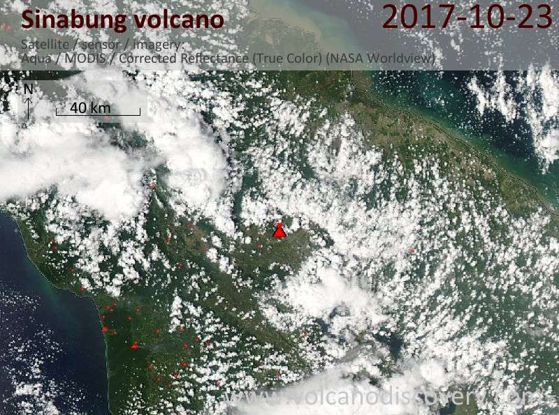 Satellite image of Sinabung volcano on 24 Oct 2017