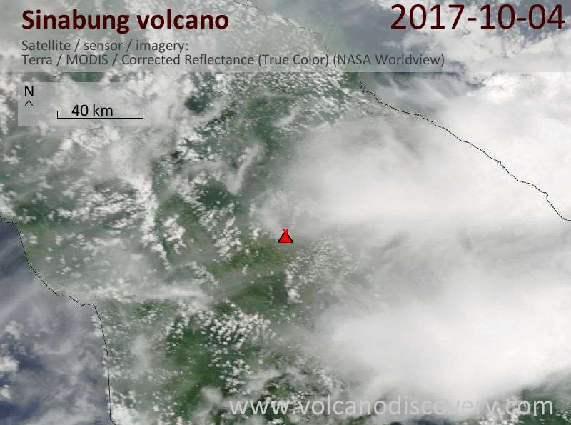 Satellite image of Sinabung volcano on  4 Oct 2017