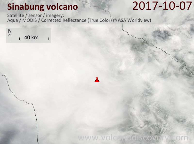 Satellite image of Sinabung volcano on  8 Oct 2017