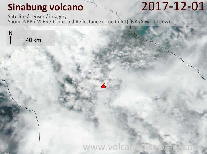 Satellite image of Sinabung volcano on  2 Dec 2017