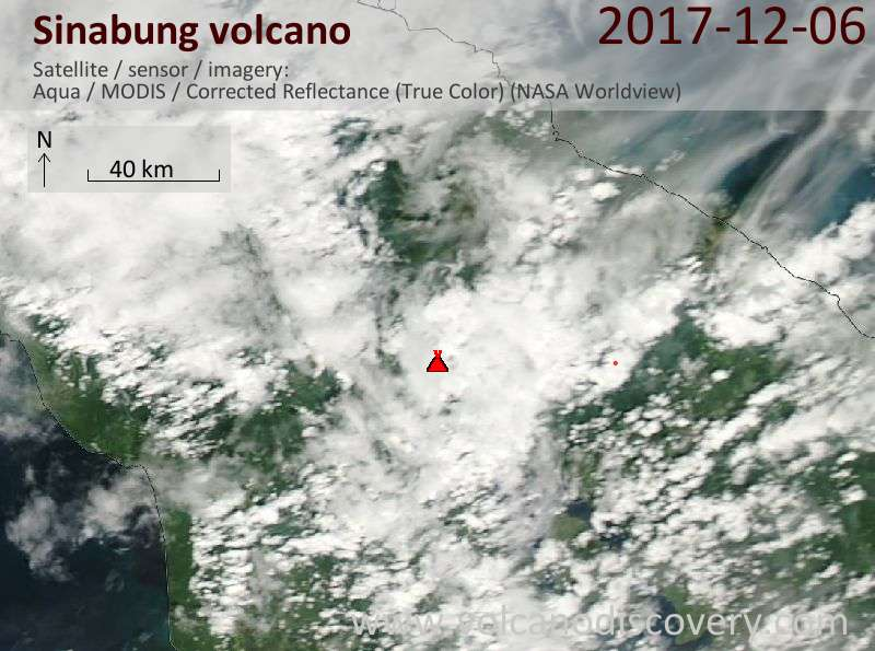 Satellite image of Sinabung volcano on  6 Dec 2017
