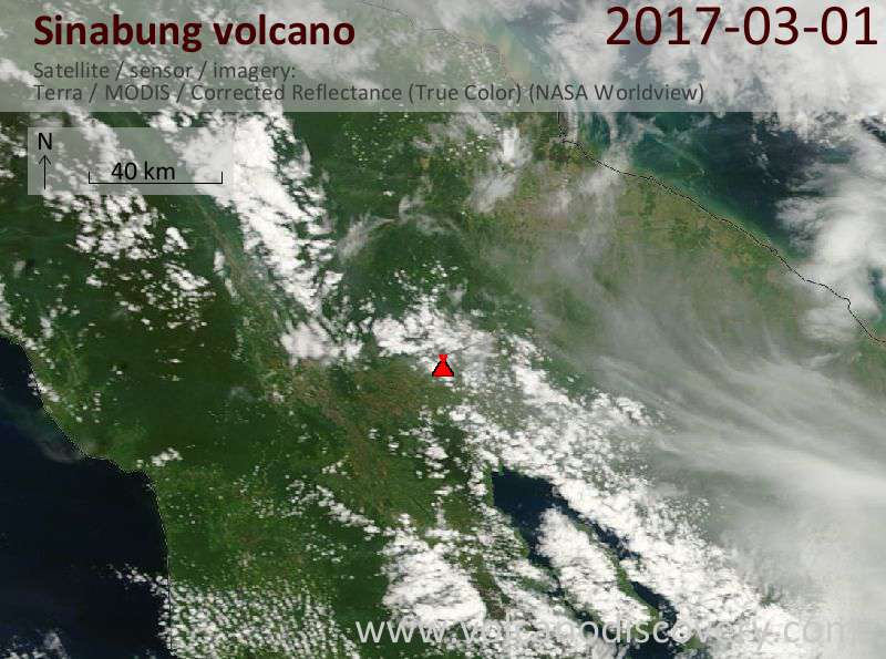 Satellite image of Sinabung volcano on  1 Mar 2017