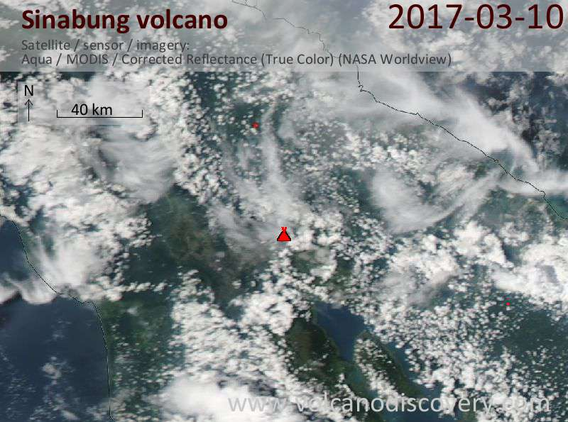 Satellite image of Sinabung volcano on 11 Mar 2017