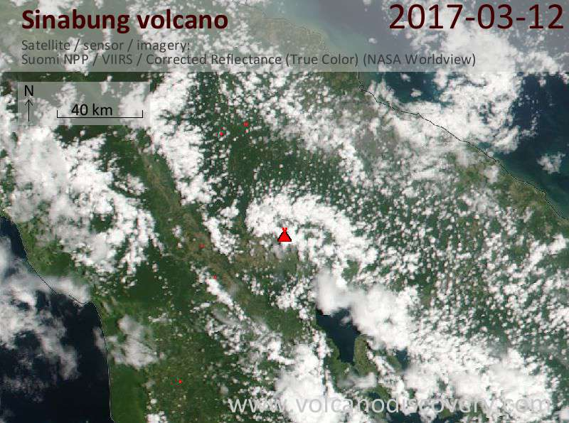 Satellite image of Sinabung volcano on 12 Mar 2017