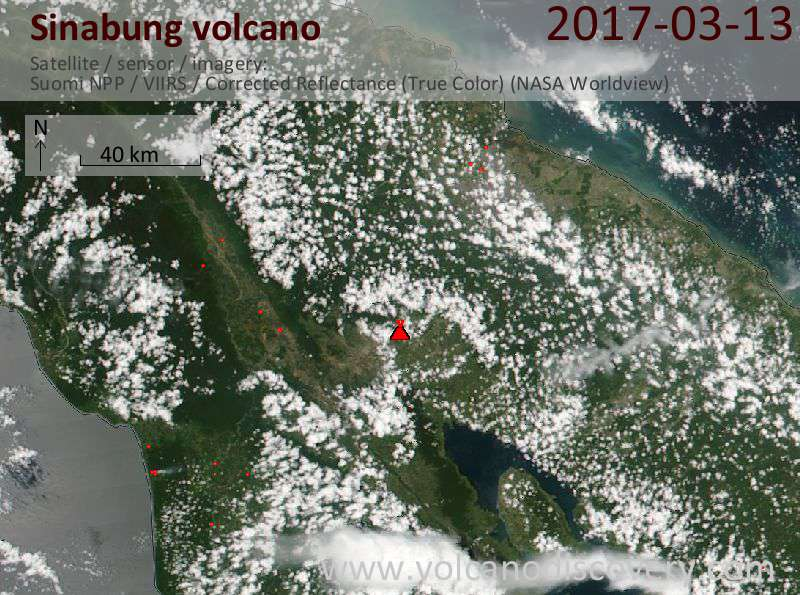 Satellite image of Sinabung volcano on 13 Mar 2017