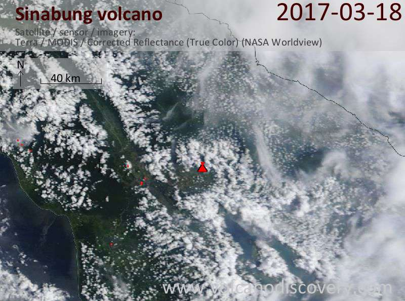 Satellite image of Sinabung volcano on 18 Mar 2017