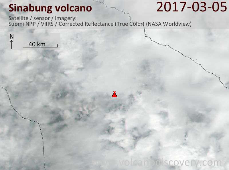 Satellite image of Sinabung volcano on  5 Mar 2017