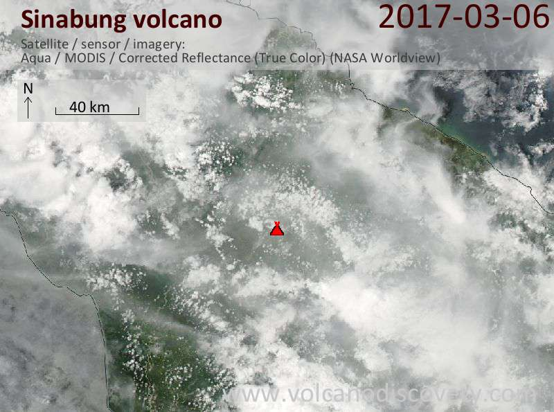 Satellite image of Sinabung volcano on  7 Mar 2017