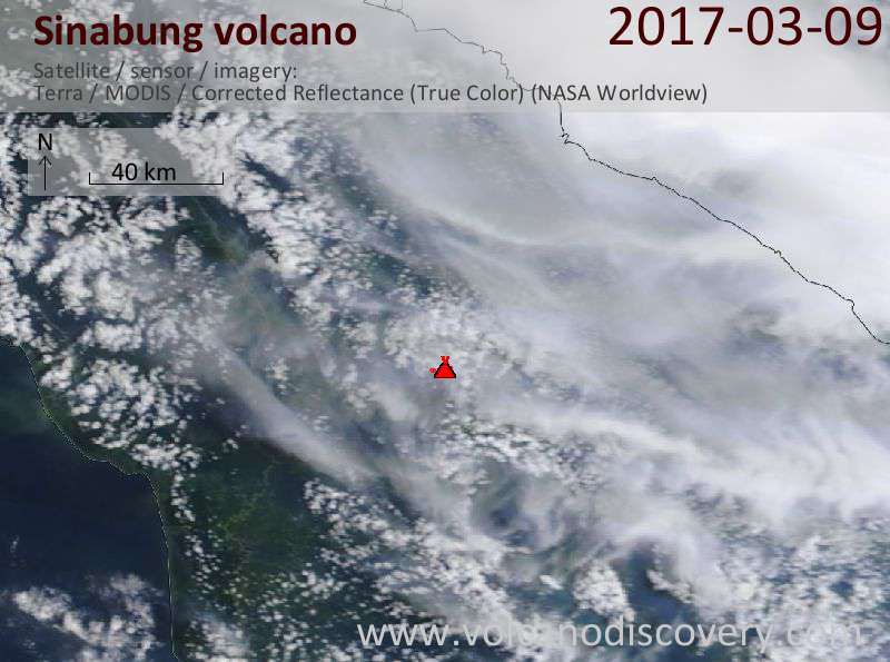 Satellite image of Sinabung volcano on  9 Mar 2017