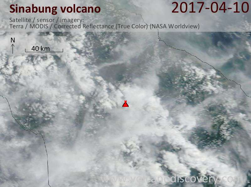Satellite image of Sinabung volcano on 10 Apr 2017