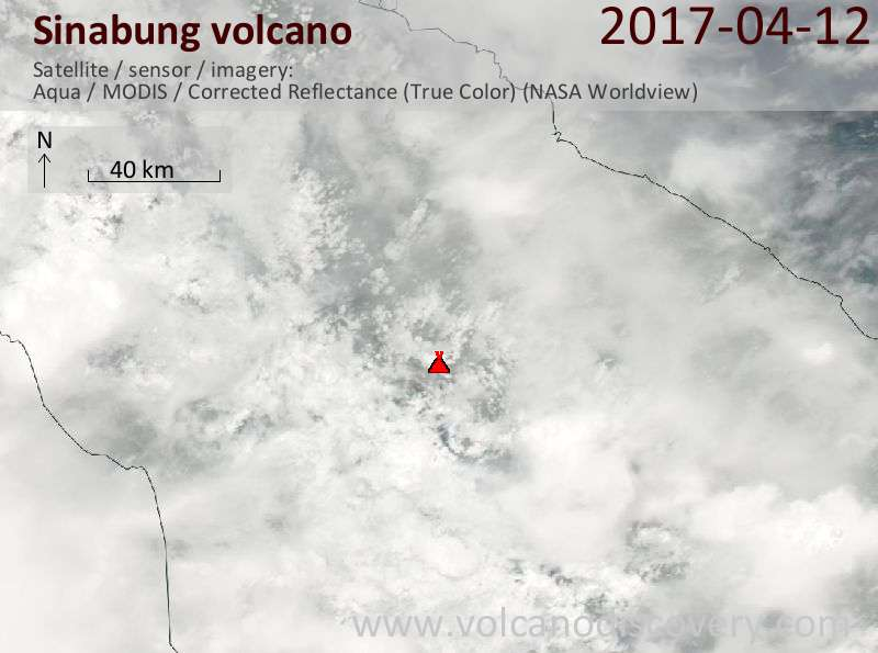 Satellite image of Sinabung volcano on 12 Apr 2017