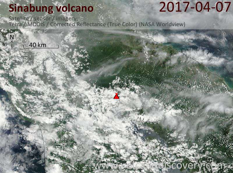 Satellite image of Sinabung volcano on  7 Apr 2017
