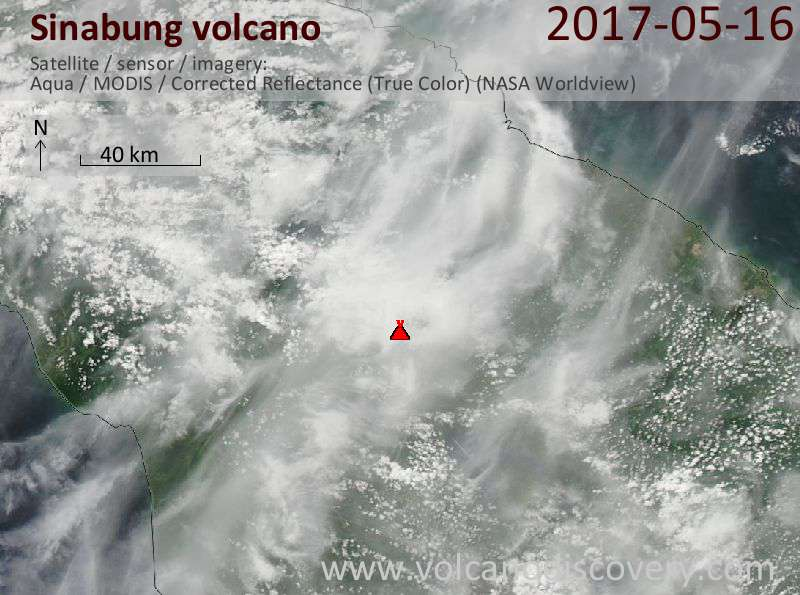 Satellite image of Sinabung volcano on 17 May 2017