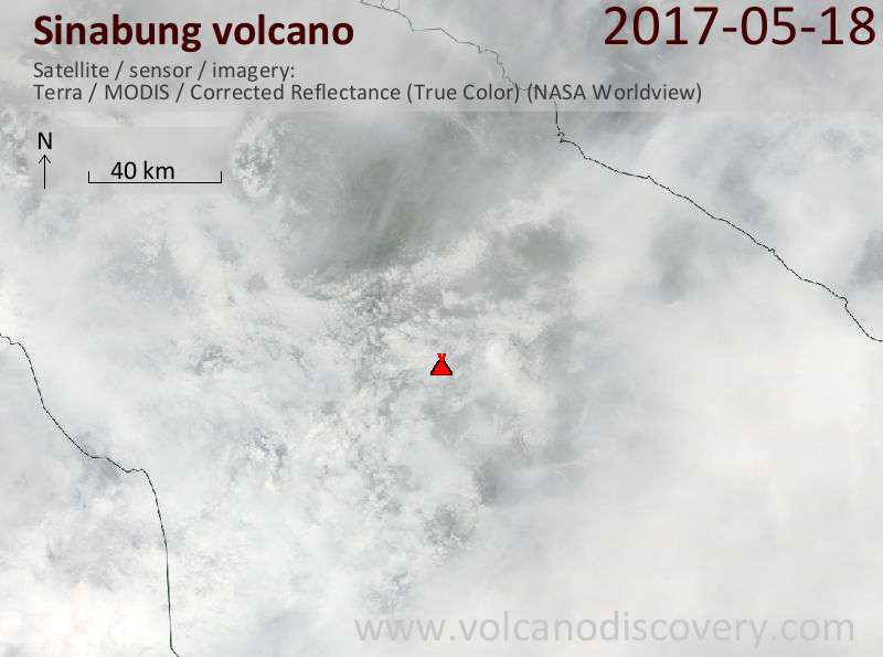 Satellite image of Sinabung volcano on 19 May 2017