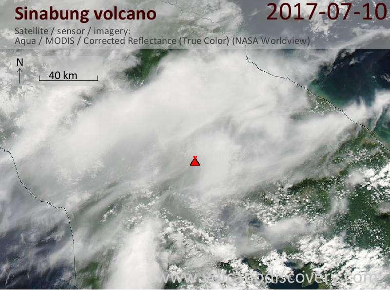 Satellite image of Sinabung volcano on 10 Jul 2017