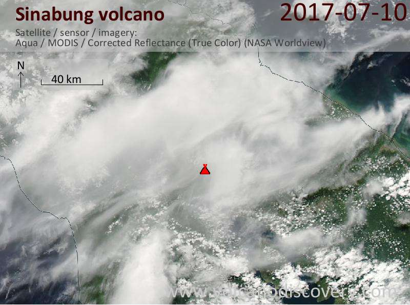 Satellite image of Sinabung volcano on 11 Jul 2017