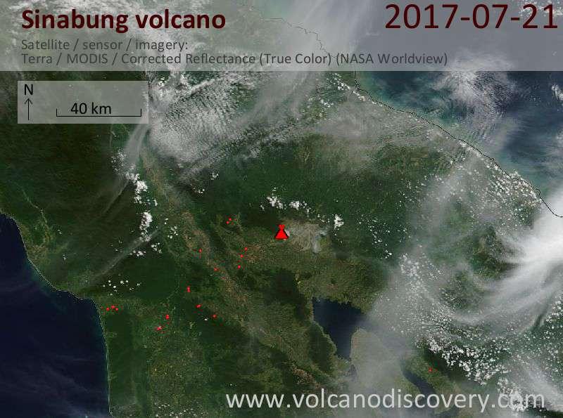 Satellite image of Sinabung volcano on 21 Jul 2017