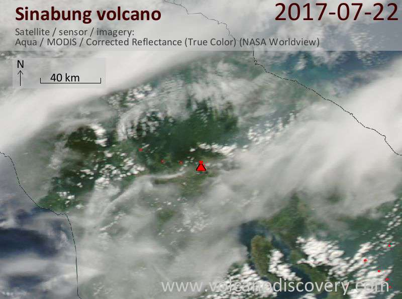 Satellite image of Sinabung volcano on 22 Jul 2017