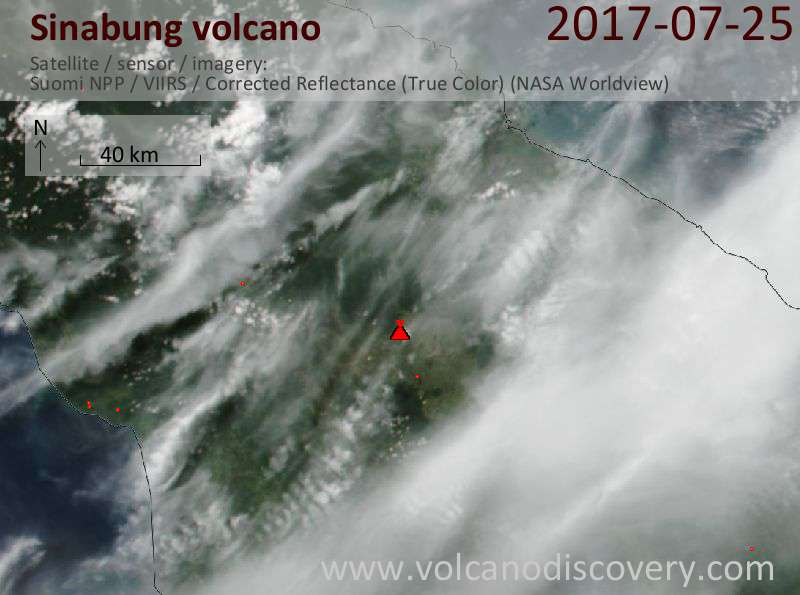 Satellite image of Sinabung volcano on 25 Jul 2017