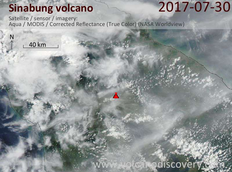 Satellite image of Sinabung volcano on 30 Jul 2017