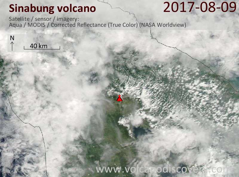 Satellite image of Sinabung volcano on  9 Aug 2017
