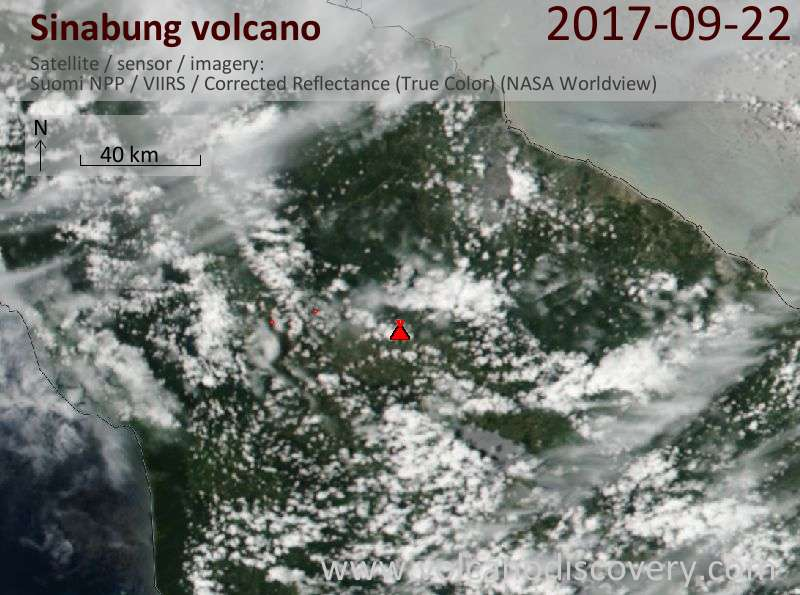 Satellite image of Sinabung volcano on 23 Sep 2017