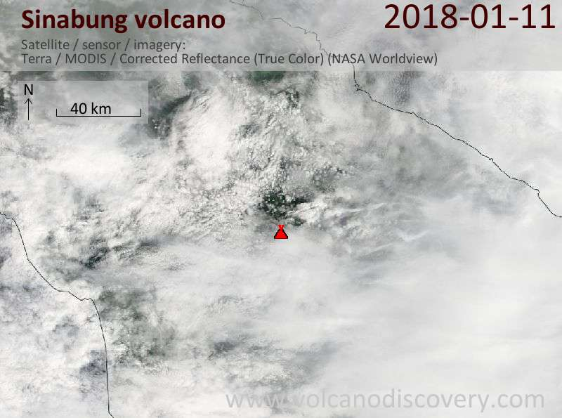 Satellite image of Sinabung volcano on 12 Jan 2018