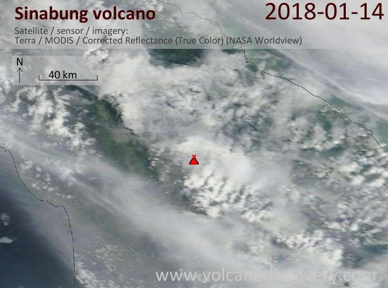 Satellite image of Sinabung volcano on 14 Jan 2018